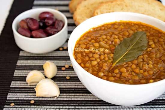 Lentil soup flavored with bay leaf