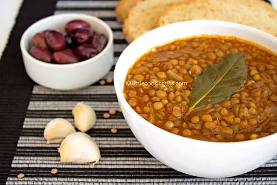 Lentil soup flavored with bay leaf