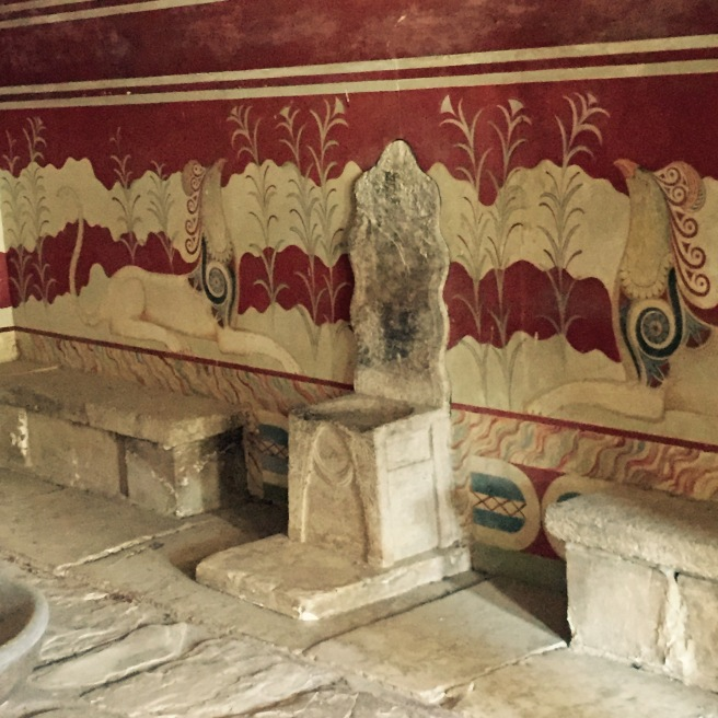 This is the throne room, with images of gryphons on the walls