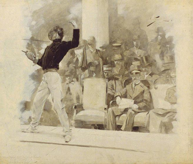 Fencing before the king of Greece - 1896 Summer Olympics. By André Castaigne ( died 1929)