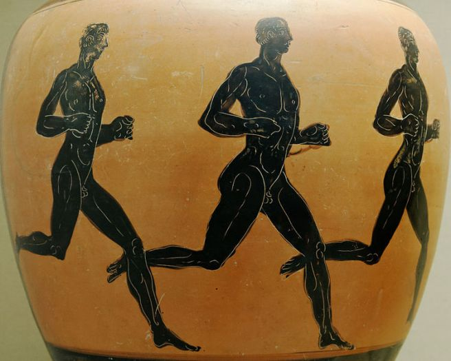 Three runners. Wikimedia commons.